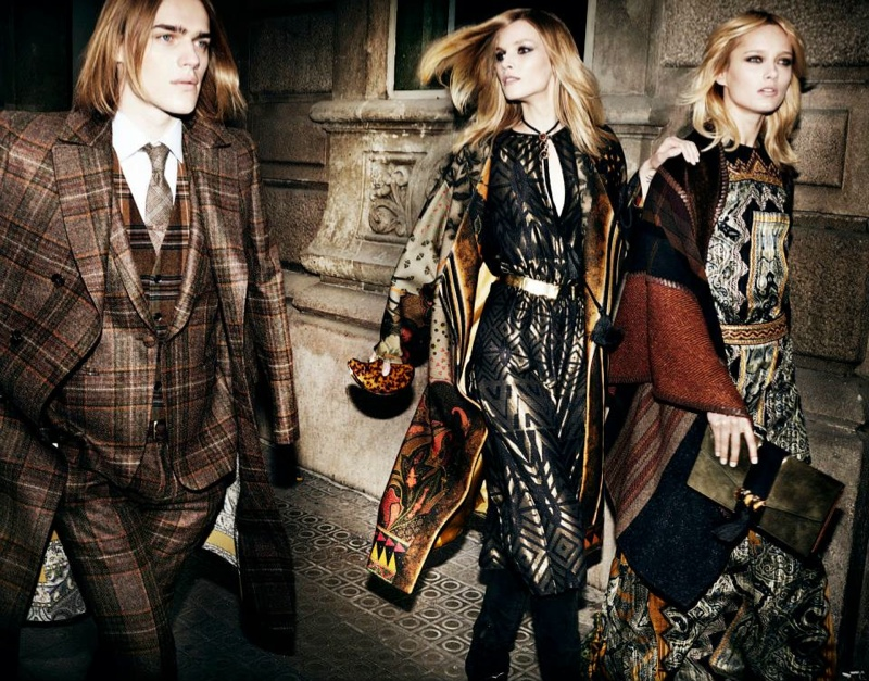 etro fall winter 2014 campaign2 Karmen Pedaru, Suvi Koponen Have a Night Out for Etros Fall 2014 Campaign