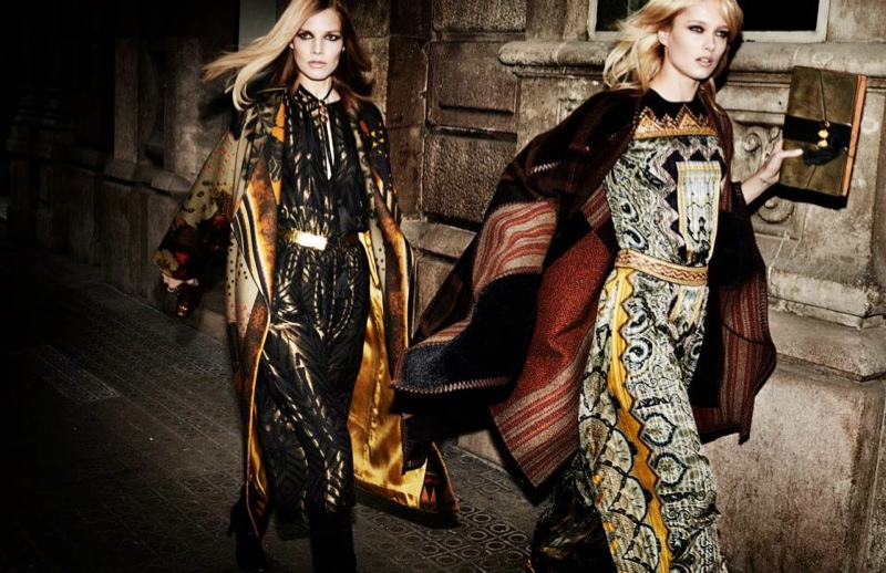 etro fall winter 2014 campaign3 Karmen Pedaru, Suvi Koponen Have a Night Out for Etros Fall 2014 Campaign