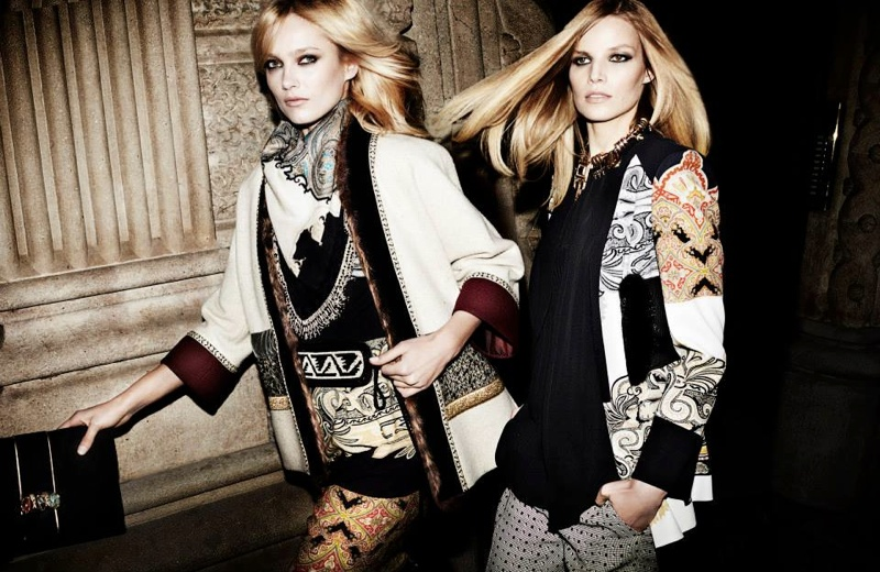 etro fall winter 2014 campaign7 Karmen Pedaru, Suvi Koponen Have a Night Out for Etros Fall 2014 Campaign