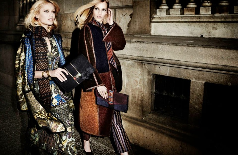 etro fall winter 2014 campaign8 Karmen Pedaru, Suvi Koponen Have a Night Out for Etros Fall 2014 Campaign