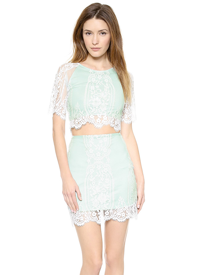 for love lemons lace crop top skirt Daily Find: Pretty Pastels with For Love & Lemons Wild Flower Lace Crop Top