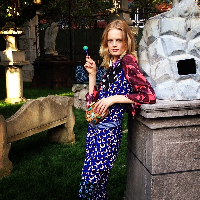 Hanne Gaby Odiele models at the Stella McCartney resort presentation