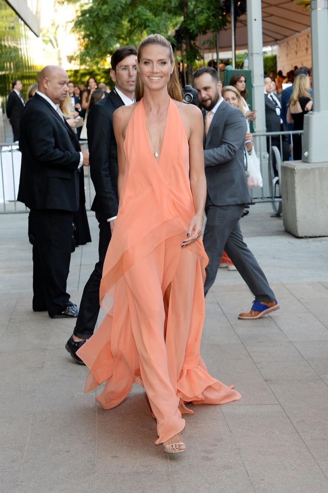 Heidi Klum stepped out in Donna Karan