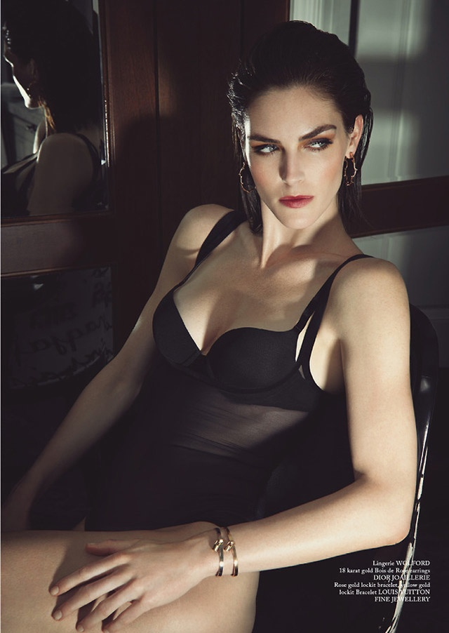 Hilary Rhoda Wears Lingerie for Glass Magazine by James Houston