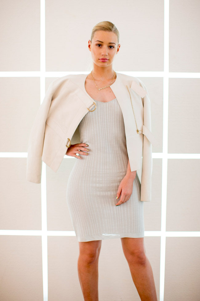 iggy azalea calvin klein dress Iggy Azalea is Understated in Calvin Klein Collection Dress at Mens Fashion Week