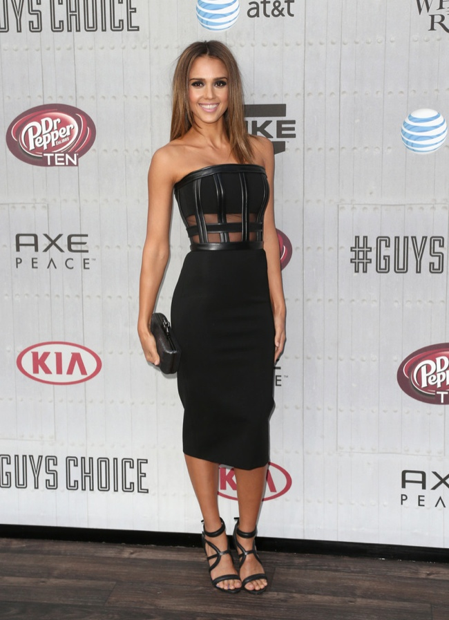 Jessica Alba was spotted in a form-fitting David Koma dress