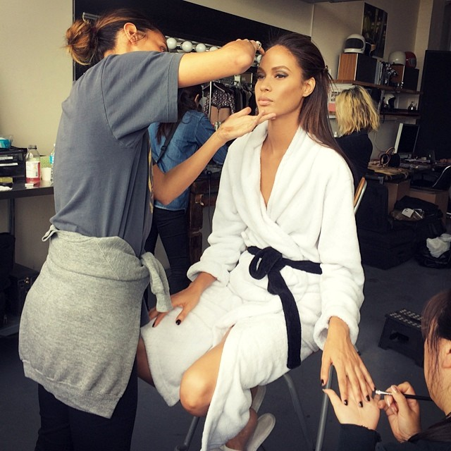 Joan Smalls on set