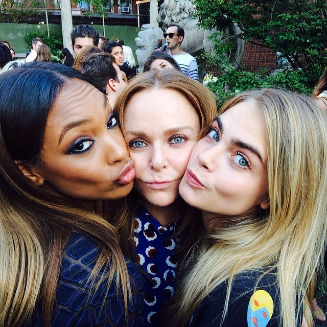 Jourdan Dunn, Stella McCartney and Cara Delevingne take a shared selfie together