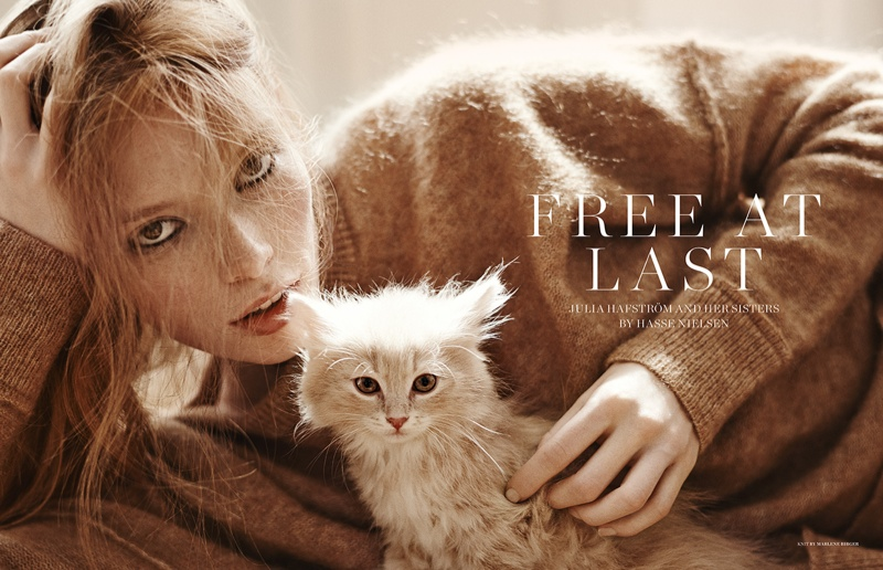 Julia Hafstrom Lounges with Cats in Scandinavia S/S/A/W by Hasse Nielsen