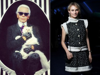 Karl Lagerfeld with his cat Choupette & Diane Kruger at Chanel event. Credit: Instagram/Chanel