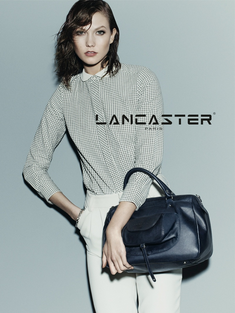 karlie kloss lancaster fall winter 2014 campaign photos1 Karlie Kloss Models Wet Hair, Handbags for Lancaster Paris Fall 2014 Campaign