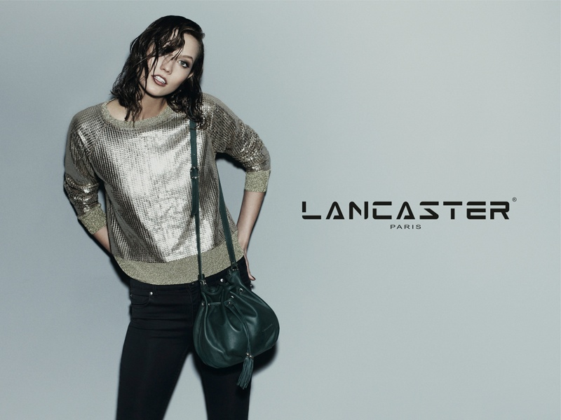 karlie kloss lancaster fall winter 2014 campaign photos2 Karlie Kloss Models Wet Hair, Handbags for Lancaster Paris Fall 2014 Campaign