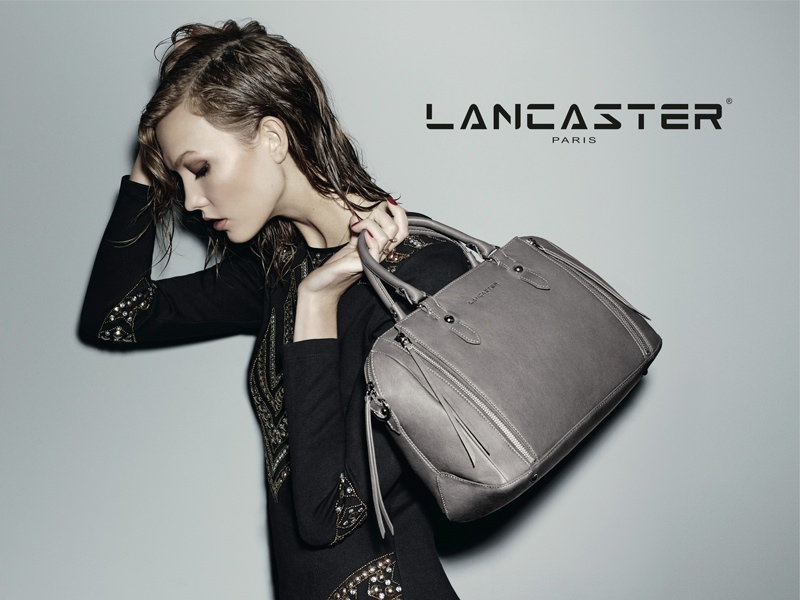 karlie kloss lancaster fall winter 2014 campaign photos3 Karlie Kloss Models Wet Hair, Handbags for Lancaster Paris Fall 2014 Campaign