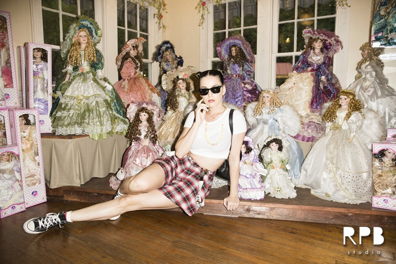 Katy Perry Wears Topshop, Chanel Suspenders While Visiting Dollywood