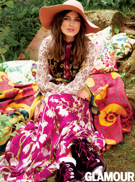 keira knightley bohemian style1 Keira Knightley Wears Bohemian Style for Glamour Cover Shoot
