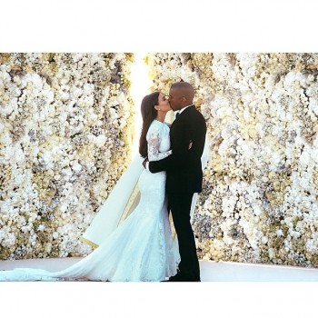 Kim and Kanye on their wedding day. Photo: Instagram