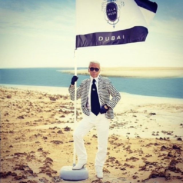 Karl Lagerfeld in Dubai for Chanel's cruise show. Photo: Instagram