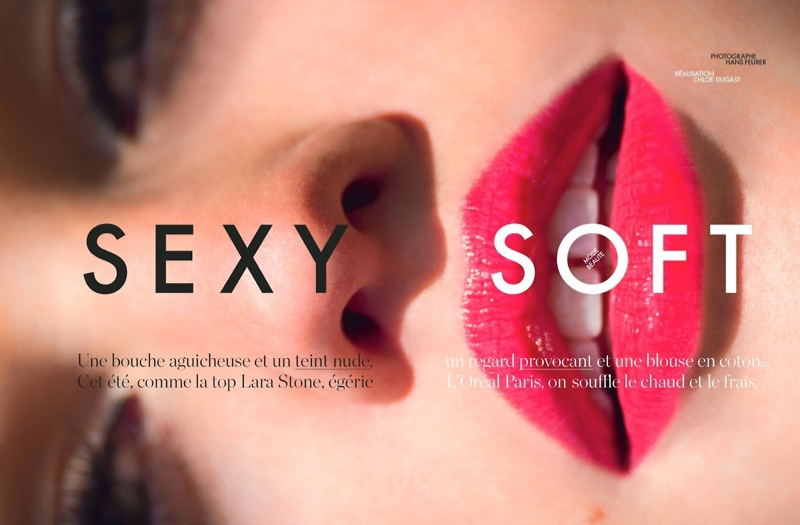 lara stone hans feuerer1 Lara Stone is 'Sexy & Soft' for Hans Feurer Shoot in Elle France
