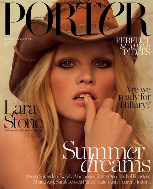 Lara Stone Wears Cowboy Hat for Porter Magazine Summer '14 Cover