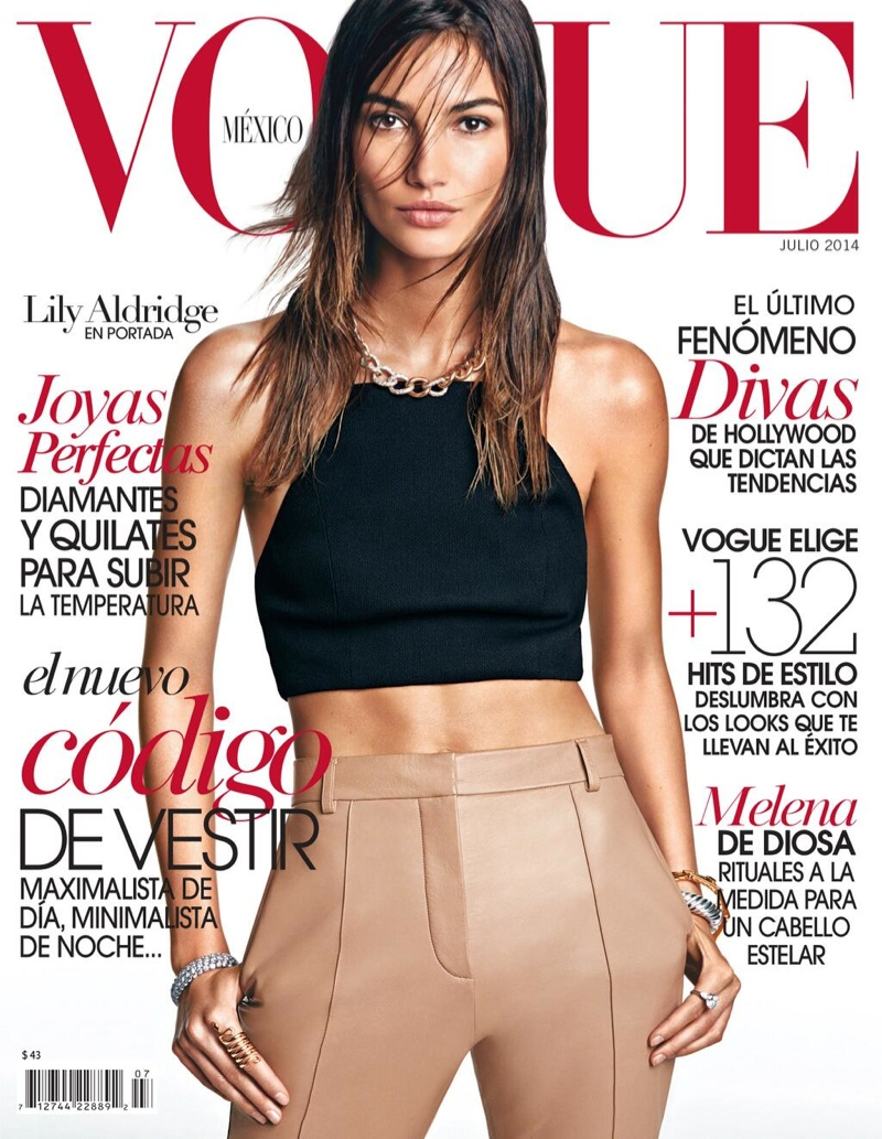 lily aldridge vogue mexico cover 2014 1 Lily Aldridge Wears Wet Hair Look for Vogue Mexico July Cover