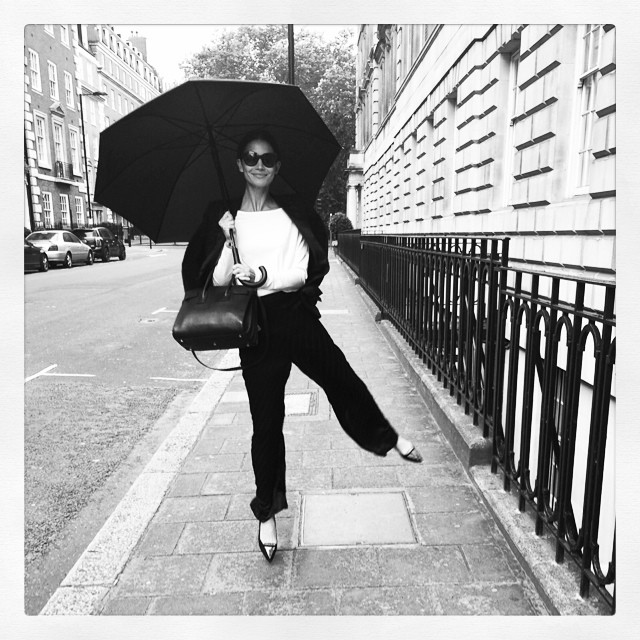 Lily Aldridge in rainy London