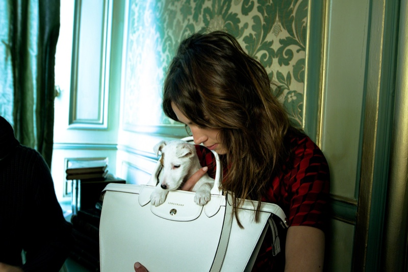 longchamp 2014 fall winter campaign2 Alexa Chung Poses with Pup for Longchamp Fall 2014 Campaign