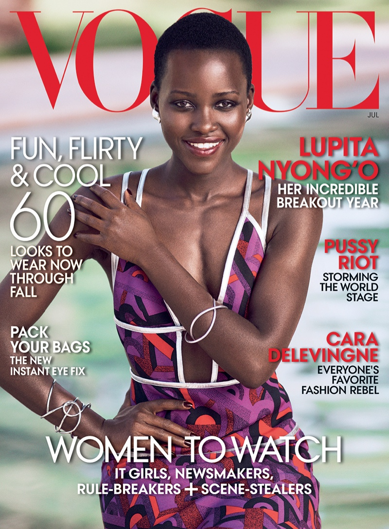 Lupita Nyong'o graces the July 2014 cover of Vogue; cementing her fashion plate status in the industry.