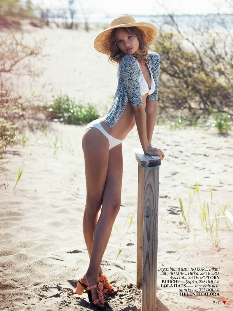 Magdalena Frackowiak Poses for David Bellemere in Swimsuit Shoot for Vogue Turkey