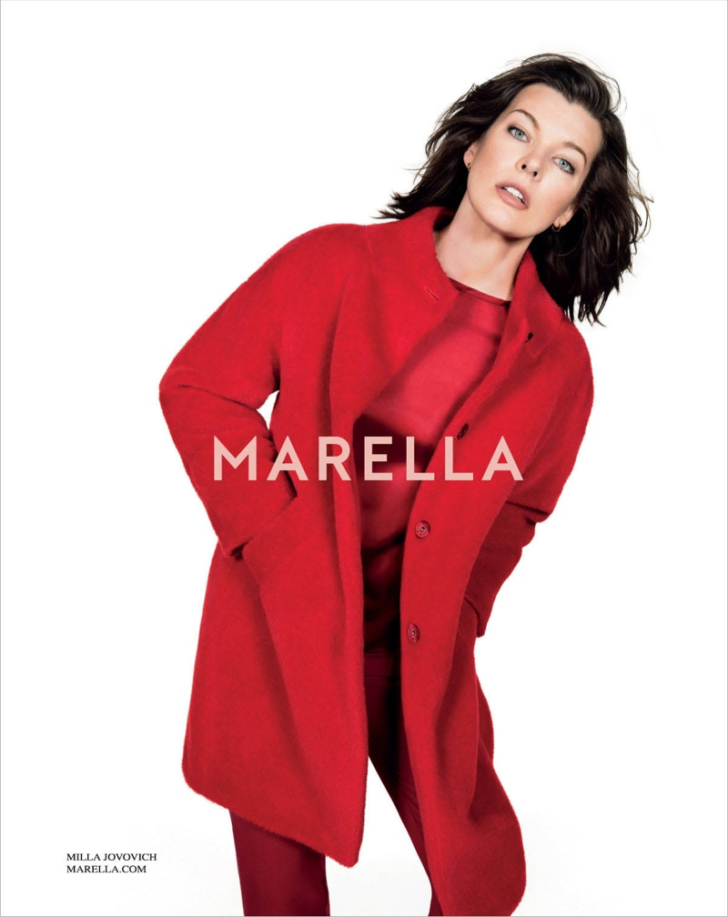 marella fall winter 2014 campaign milla jovovich1 Milla Jovovich Gets Arty for Marella's Fall 2014 Campaign