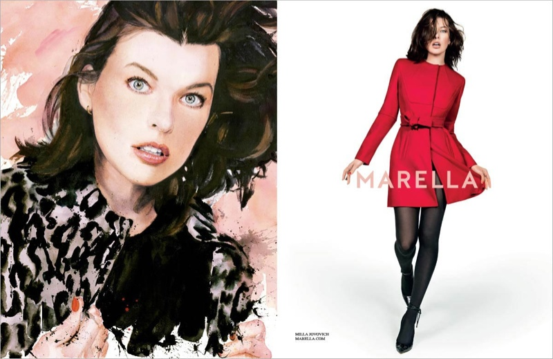 marella fall winter 2014 campaign milla jovovich5 Milla Jovovich Gets Arty for Marella's Fall 2014 Campaign