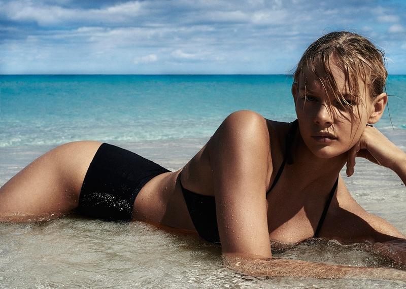 marloes horst swimsuit shoot 2014 1 Swimsuit Clad Marloes Horst Poses for David Slijper in Bazaar UK Spread