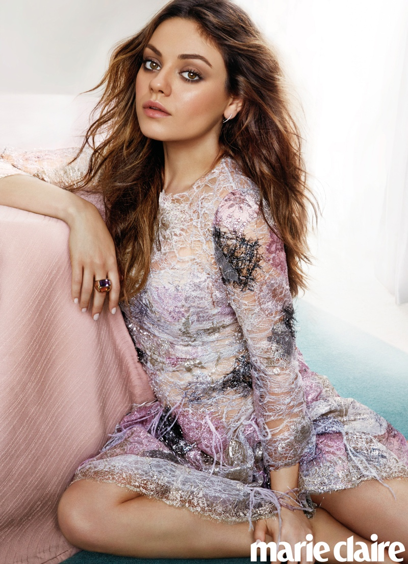 Mila Kunis Stars in Marie Claire, Talks Giving Birth & Ashton Kutcher
