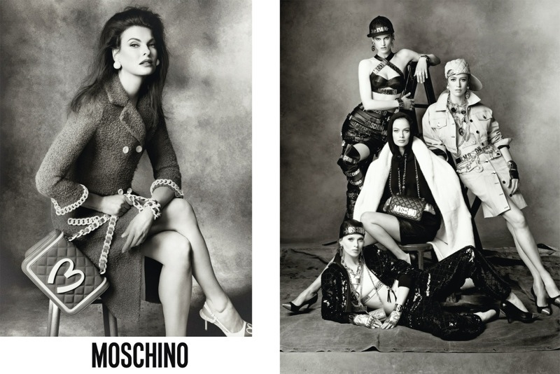 moschino fall 2014 ads photos1 More Photos of Moschino's Fall 2014 Campaign with Carolyn, Karen, Raquel, Stella, Saskia + Linda