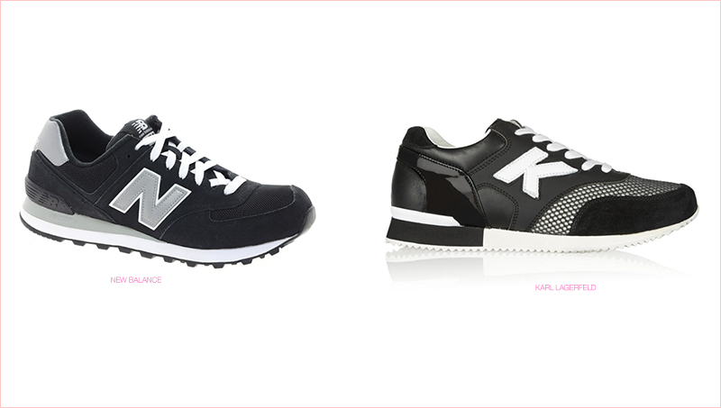 COPIED? New Balance (left) accuses Karl Lagerfeld (right) of copying their sneaker style.