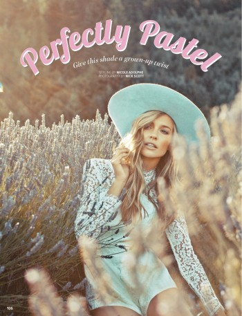 Ashley Osborne Wears Perfect Pastels for Cosmopolitan Australia