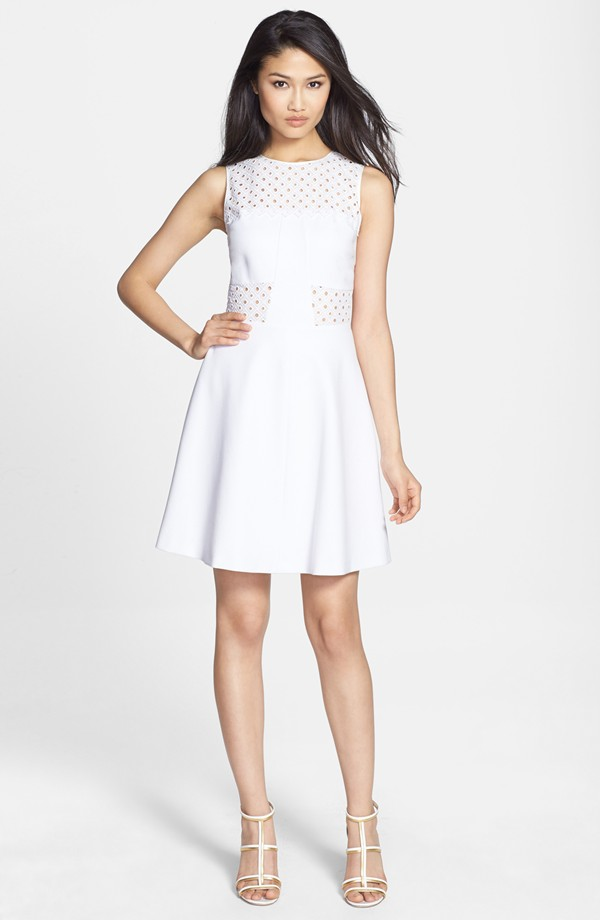 Rebecca Taylor 'Aline' Eyelet Accent Fit & Flare Dress available at Nordstrom for $295.00