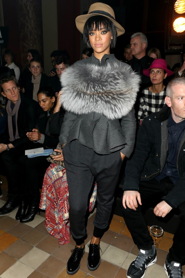 Rihanna wearing Lanvin at Lanvin's Fall-Winter 2014 Show in Paris