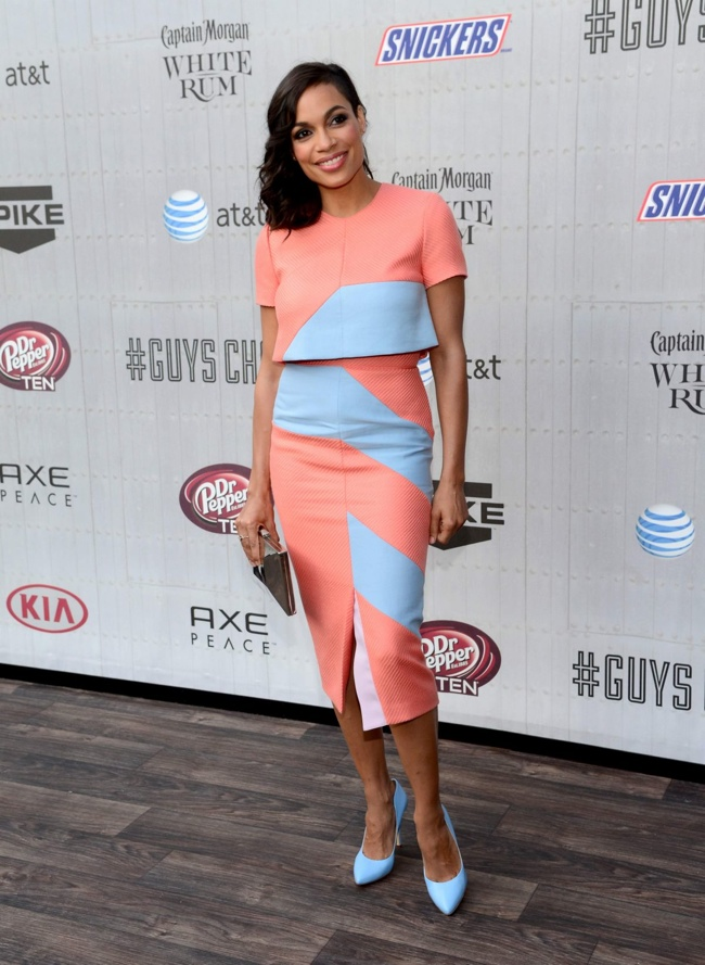 rosario dawson coral dress 2014 Spike Guys Choice Awards Style: Jessica Alba, Emily Ratajkowski + More