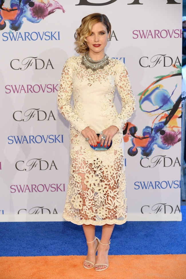Sophia Bush wore a lacy Marchesa dress