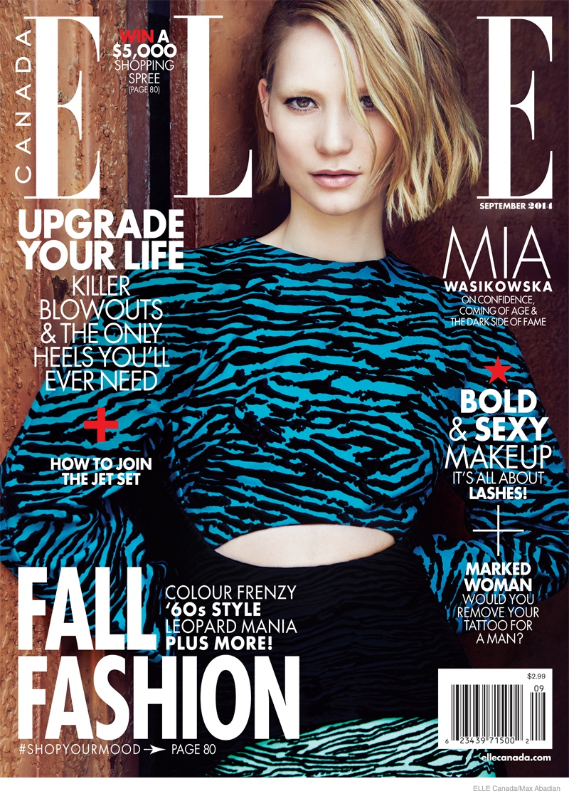 Mia Wasikowska 2014 Photos Updated01 Mia Wasikowska Wears Fall Style for Elle Canada Cover Story