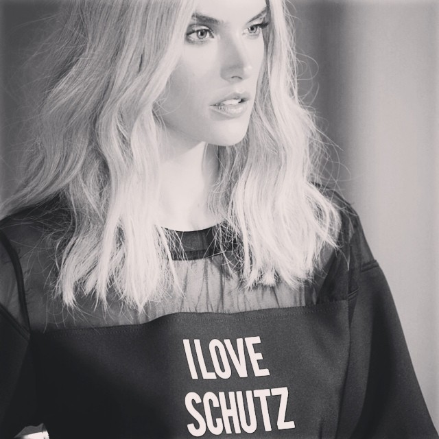 A blonde Alessandra Ambrosio on set of Schutz campaign. Image: Model's Instagram