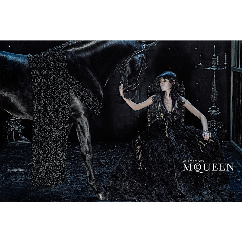 alexander mcqueen 2014 fall winter campaign4 Edie Campbell Gets Equestrian for Alexander McQueens Fall 2014 Campaign