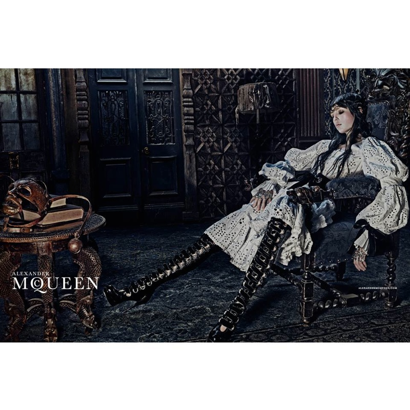 alexander mcqueen 2014 fall winter campaign5 Edie Campbell Gets Equestrian for Alexander McQueens Fall 2014 Campaign