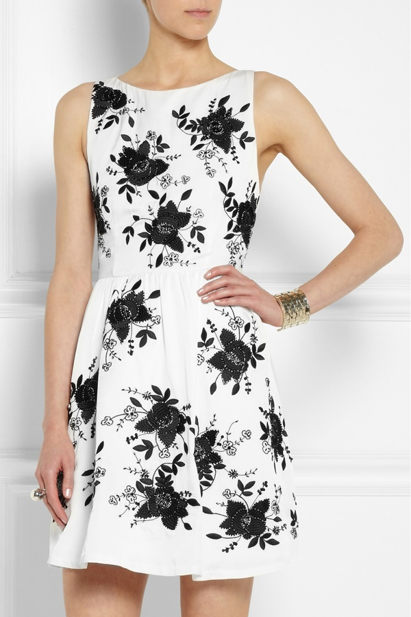 Alice + Olivia Lillyanne embellished open-back silk-twill dress available at Net-a-Porter for $700.00