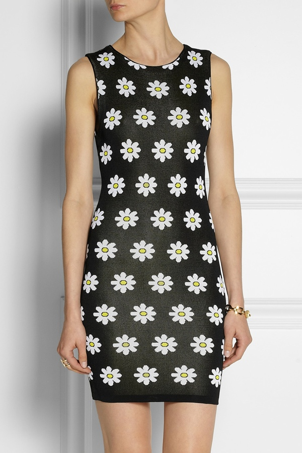 Alice + Olivia Dee knitted floral-jacquard mini dress available at Net-a-Porter for $330.00