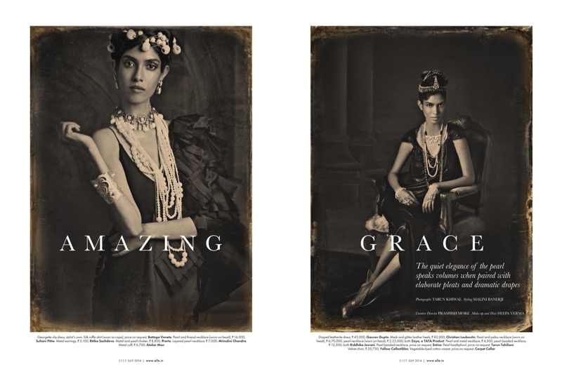 amazing grace india fashion1 Amazing Grace: Malini Banerjee by Tarun Khiwal for Elle India