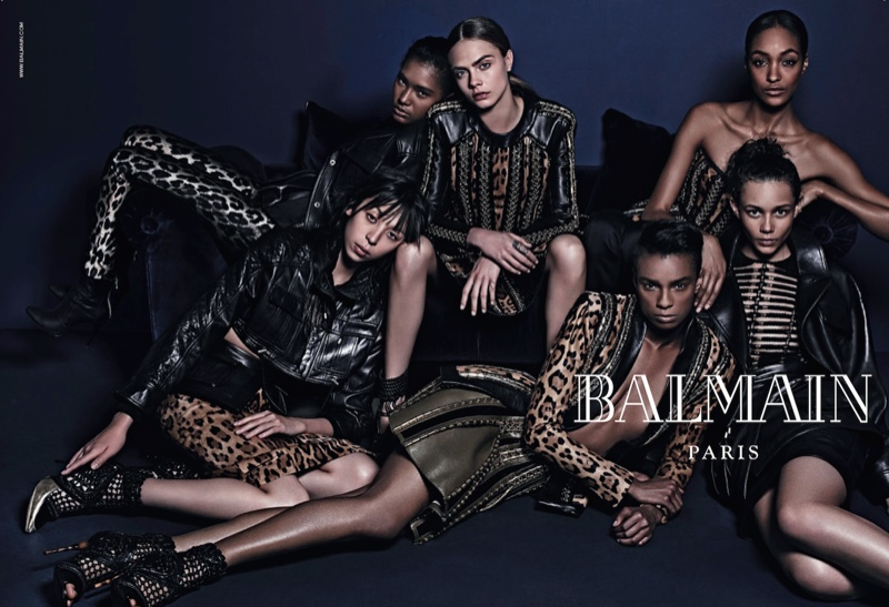 balmain fall 2014 ad cara delevingne1 More Images of Cara Delevingne, Jourdan Dunn for Balmains Fall Ads