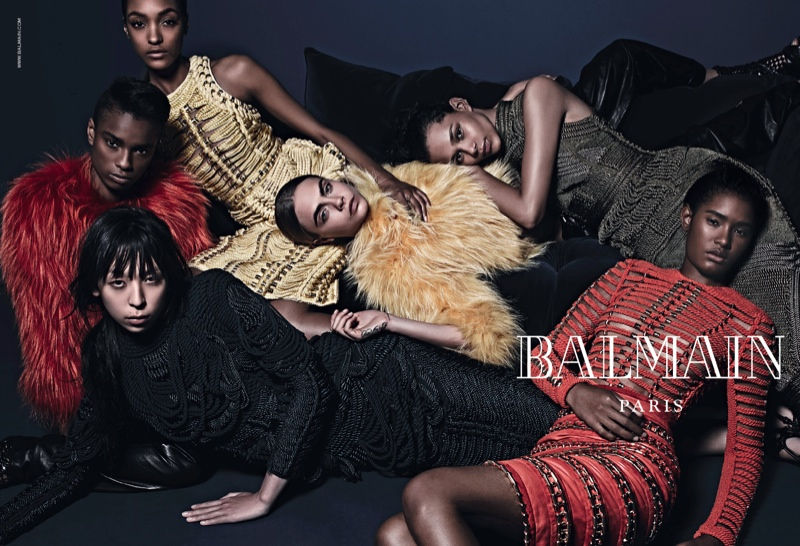 balmain fall 2014 ad cara delevingne2 More Images of Cara Delevingne, Jourdan Dunn for Balmains Fall Ads