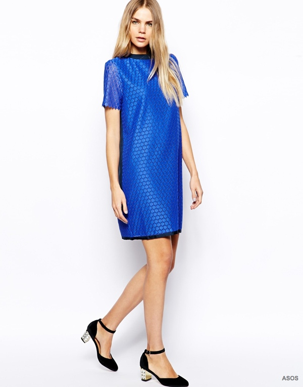 Band of Outsiders Shift Dress in Lace with Silk Panel to Back available at ASOS for $413.47