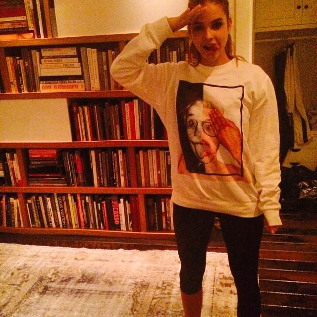 Barbara Palvin wears Miley Cyrus/Einstein t-shirt